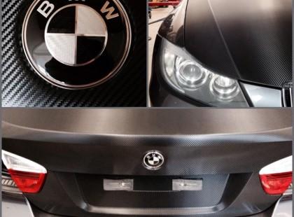 Autoteippaus, ikkunatummennus hiilikuitu bmw